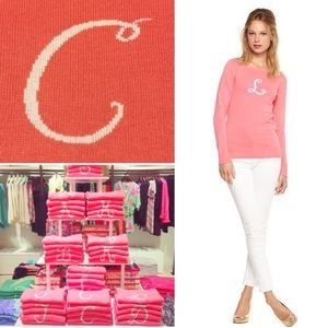"""LILLY PULITZER Punk Marielle Initial """"C"""" Sweater"""